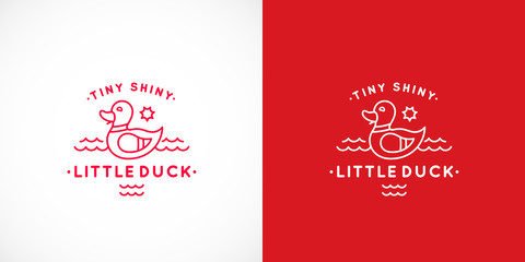 Tiny Shiny Swimming Duck Abstract Vector Sign, Emblem or Logo Template. Line Style Cute Illustration with Typography.