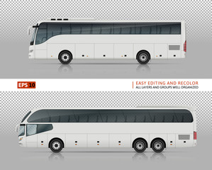 Coach buses vector mock-up for car branding and advertising. Isolated travel bus set on transparent background. All layers and groups well organized for easy editing and recolor. View from left side.