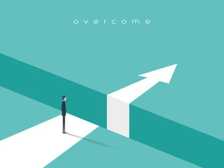 Business challenge or obstacle vector concept with businessman standing on the edge of gap, chasm with arrow going through. Concept of courage, bravery, risk.