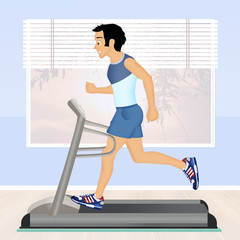 man running on tapis roulant