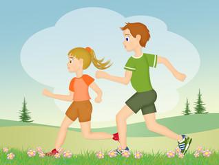 children runs