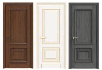 Three wooden doors on a white background