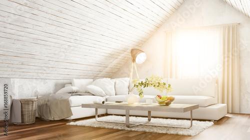 Dachgeschoss wohnzimmer mit sofa im sommer photo libre de droits sur la banque d 39 images - Wohnzimmer dachgeschoss ...