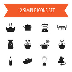 Set Of 12 Editable Restaurant Icons. Includes Symbols Such As Dining Table, Powdered, Multicooker And More. Can Be Used For Web, Mobile, UI And Infographic Design.