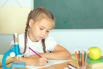 Smiling young little child girl writing in school. Education and school concept
