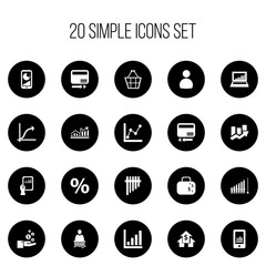 Set Of 20 Editable Statistic Icons. Includes Symbols Such As Upward Direction, Pay Redeem, Credit Card And More. Can Be Used For Web, Mobile, UI And Infographic Design.