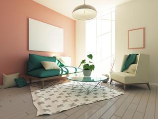 Modern hipster interior 3d