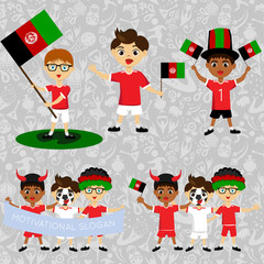 Set of boys with national flags of Afghanistan. Blanks for the day of the flag, independence, nation day and other public holidays. The guys in sports form with the attributes of the football team