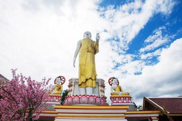 buddha statue with blue sky at Wat Phra That Doi Kham, Chiang Mai, Thailand.