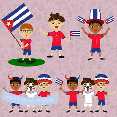Set of boys with national flags of Cuba. Blanks for the day of the flag, independence, nation day and other public holidays. The guys in sports form with the attributes of the football team