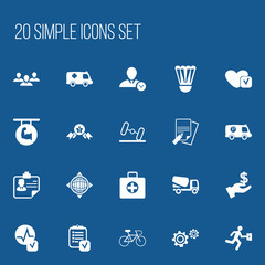 Set Of 20 Editable Complex Icons. Includes Symbols Such As Cogwheel, World, Dollar And More. Can Be Used For Web, Mobile, UI And Infographic Design.