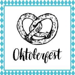 Oktoberfest symbol. Beer festival sign with hand sketched bagel. Bavarian pretzel drawing. Wiesn badge.