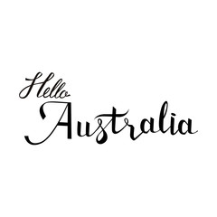Hello Australia lettering and calligraphy, icon, emblem typographic design