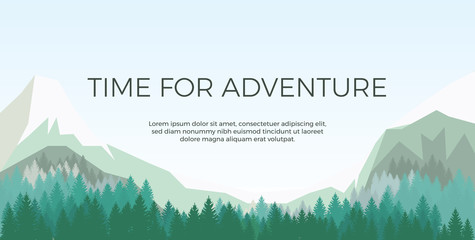 Landscape background with mountain,forest. Vector illustration.