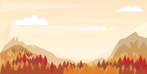Landscape background with mountain,forest. Vector illustration. Autumn landscape