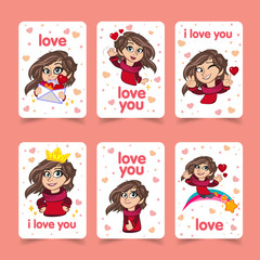 Vector greetings card set Love you. With a cartoon character as a girl. Modern design solution