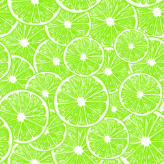 Seamless pattern with lime slices, background design element.