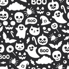 Vector cute seamless Halloween pattern. Smiling and funny cartoon characters pumpkin, ghost, cat, bat, candy, spider. Wrapping paper, wallpaper, repeating background. Black and white