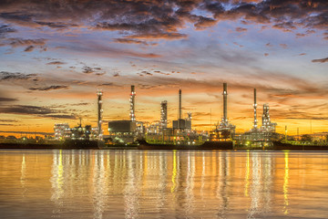 Oil refinery at sunrise background in Bangkok Thailand