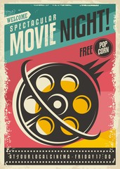 Movie poster design with film roll on colorful background