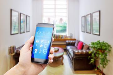 mobile phone in modern living room
