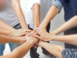 Fototapeta  Stock photo ID: 631261046In selective focus of Business group  Hands together Joining teamwork concepts.Collaborate project.Cross processing and Split tone new trend like process