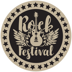 Vector round emblem for Rock Festival with an electric guitar, wings and fire