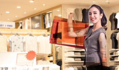 Double exposure women holding shopping bags in her hand with a copy space