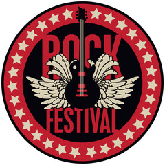 Vector round emblem for Rock Festival with an electric guitar, feathers, wings and stars