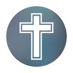 Farbiger Button - Kreuz mit Kontur