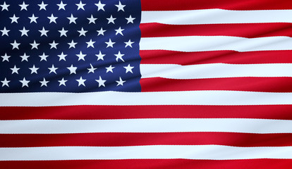3D rendering, american USA flag, stars and stripes, united states of america