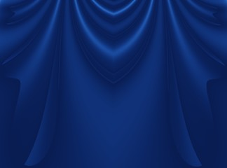 Deep blue modern abstract fractal background illustration with stylized draping or curtains. Dark smooth elegant creative template for fashion themed projects, layouts, designs, banners, flyers, skins