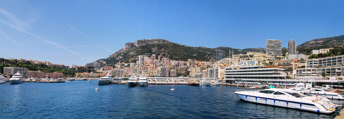 Panorama of La Condamine ward and Port Hercules in Monaco.