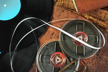 Gramophone records and tape in retro style
