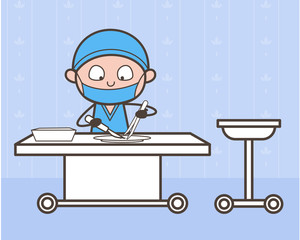 Cartoon Surgeon Doing Experiment in Medical Lab Vector Concept