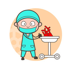 Cartoon Cardiologist with Human Heart for Examine Vector Concept