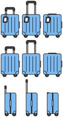 青い旅行用のトランクケース(キャリー付き)
