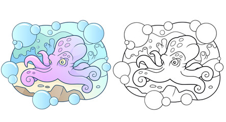 Cartoon funny octopus lies on the bottom of the sea
