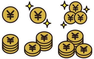 お金・現金・コイン・仮想通貨・ビットコインのイラスト