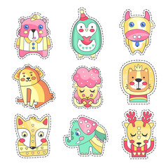Cute colorful cloth patches set, embroidery or applique for decoration kids clothing cartoon vector Illustrations