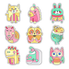 Cute colorful cloth patches with animals and birds set, embroidery or applique for decoration kids clothing cartoon vector Illustrations
