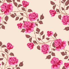 Floral seamless pattern with pink   roses. Diagonal branches with flowers.  Vector illustration  for textile, print, wallpapers, wrapping.