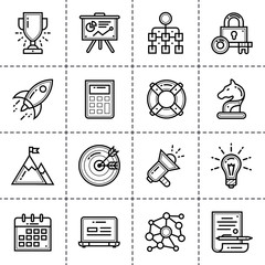 Set of linear icons for startup business. High quality modern icons for suitable for info graphics, print media and interfaces