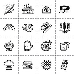 Set of linear icons, bakery and cooking. Modern outline icons for mobile application and web concepts