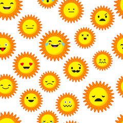 Seamless background with Sun emotions. Vector illustration. Textile rapport.