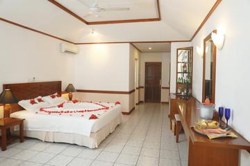 Hotel room prepared for romantic date