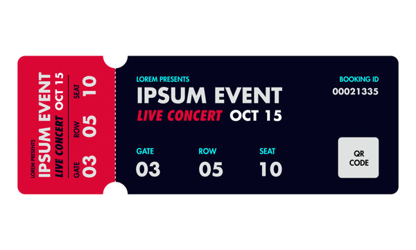Concert ticket template. Music, Dance, Live Event Ticket for entrance to the event. Modern elegant illustration template of Ticket Card