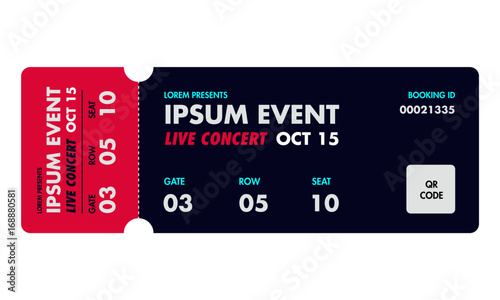 Concert Ticket Template. Music, Dance, Live Event Ticket For Entrance To  The Event  Concert Ticket Templates