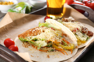 Delicious fish tacos served on tray