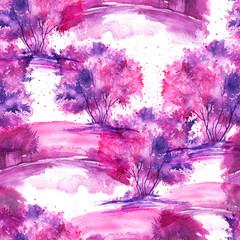 Watercolor seamless pattern, background, with vintage pattern - watercolor landscape, tree, bush, river bank, splash of paint. Fashionable vintage illustration of pink, Purple, lilac color.